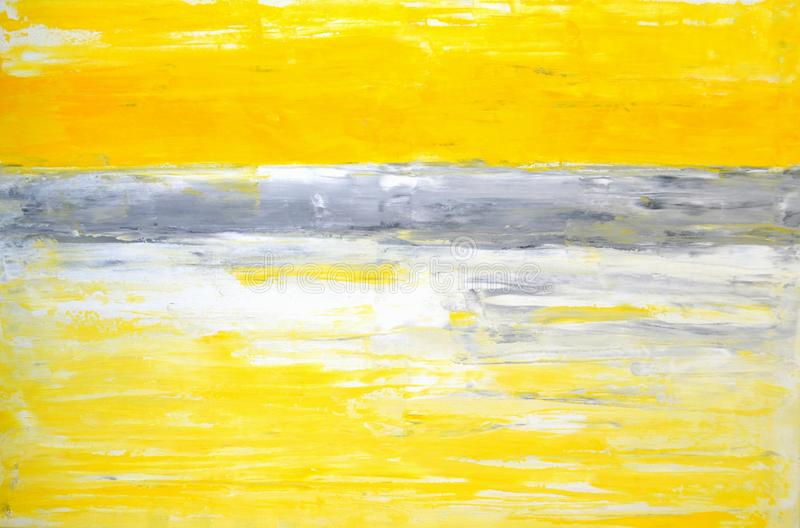 Grey and Yellow Abstract Art Painting royalty free stock photos