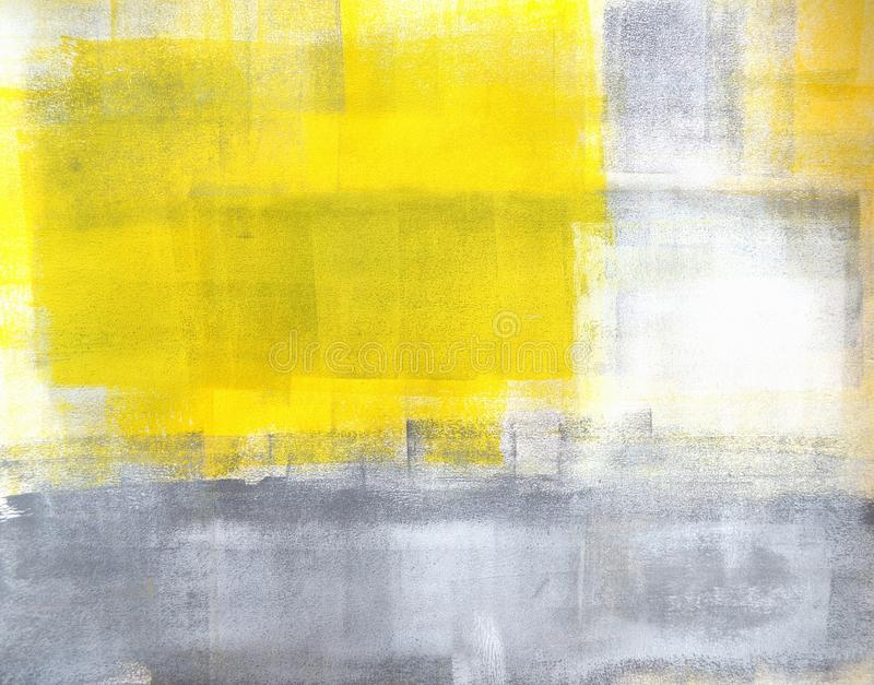 Grey And Yellow Abstract Art Painting Stock Image - Image of wall ...
