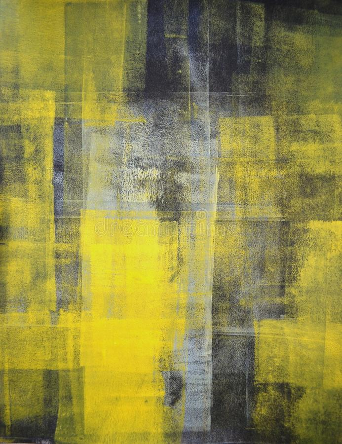 Grey and Yellow Abstract Art Painting stock photography