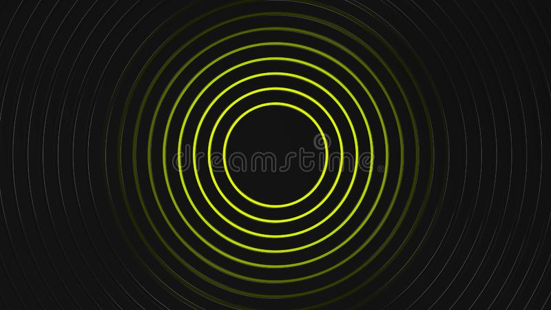 Grey and yellow circles modern background. Illustration, 3d render royalty free illustration