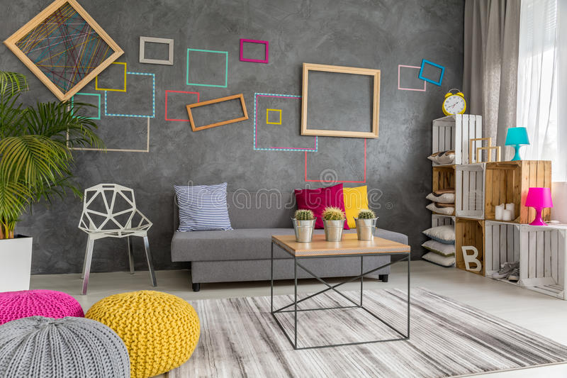 Grey Yellow And Pink Living Room Stock Image Image Of