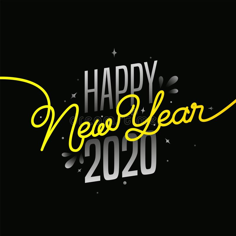 Grey and Yellow Text of Happy New Year 2020 royalty free illustration