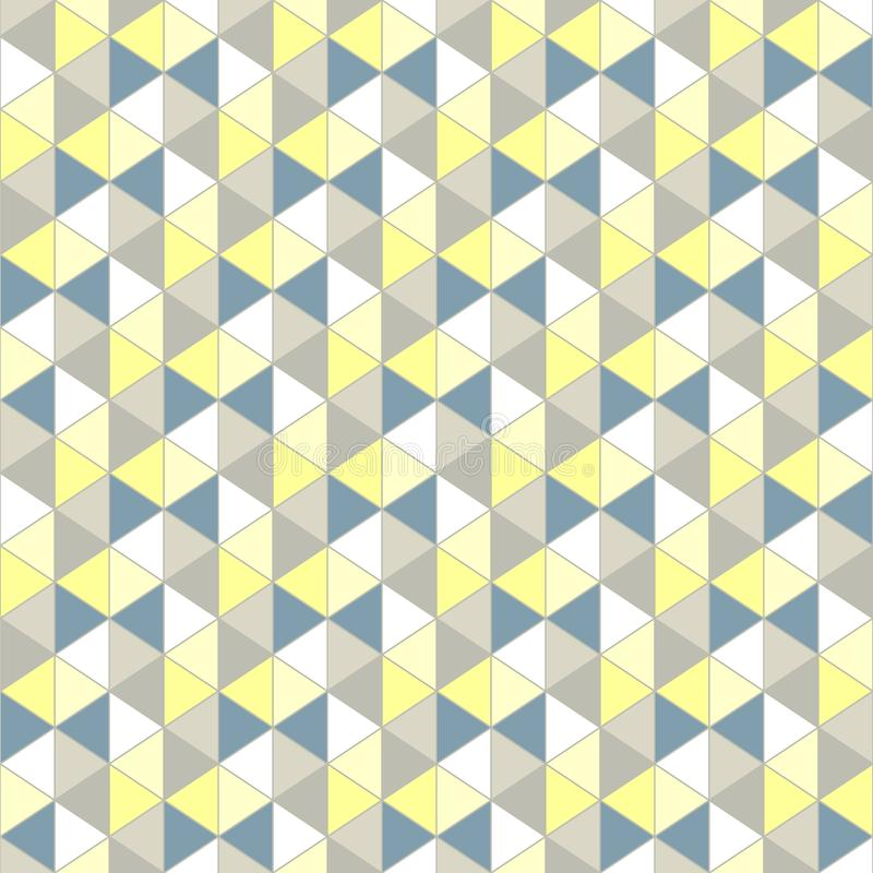 Grey yellow triangle, pattern. Seamless vector design Abstract royalty free illustration