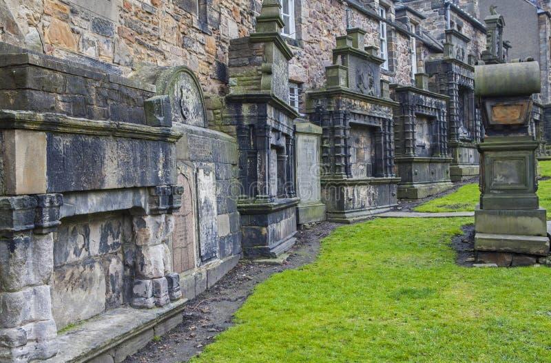 Greyfriars kyrkogård i Edinburg arkivfoto