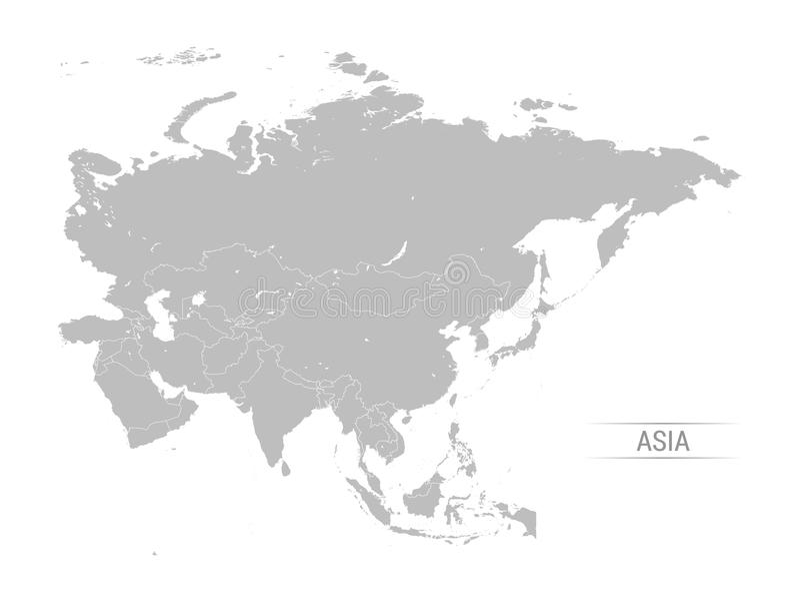 Greyscale διανυσματική απεικόνιση χαρτών της Ασίας διανυσματική απεικόνιση