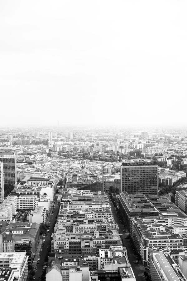 Greyscale aerial shot of high rise buildings in a big city. A greyscale aerial shot of high rise buildings in a big city stock photography