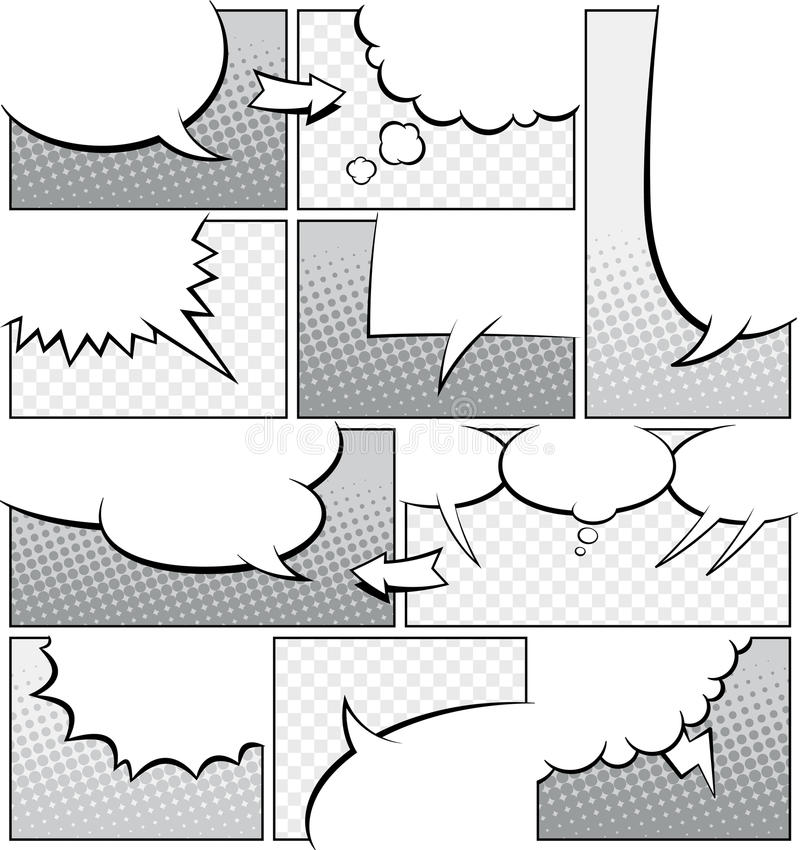 Greyscale Comic Book Page Template Stock Illustration  Illustration