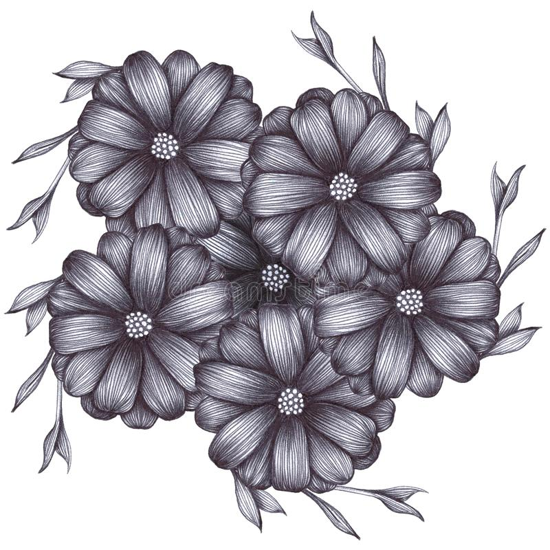 Greyscale flowers with leaves on white isolated background drawing with pen ball. Hand drawing illustration for cards, posters. vector illustration