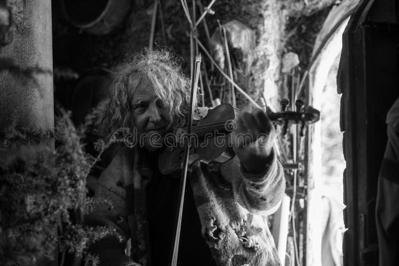 Greyscale image of an older bohemian man playing violin royalty free stock image