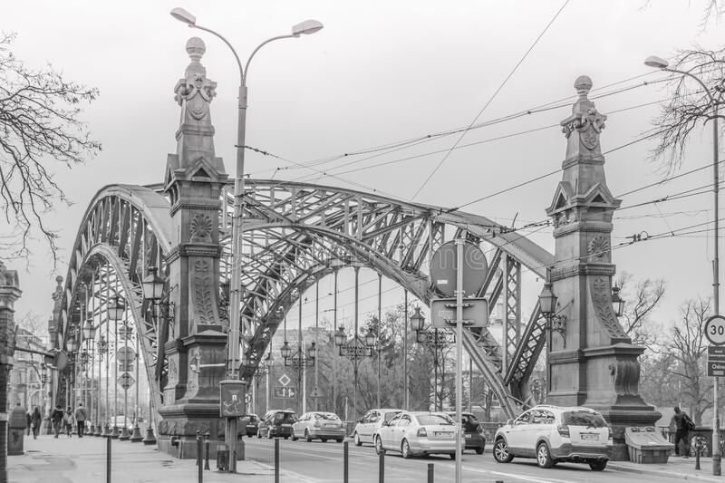 Greyscale Photo Of A Bridge With Cars Being Caught In A Traffic During A Snow Weather Free Public Domain Cc0 Image