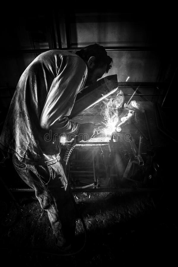 Greyscale Photo Of Person Having Welding Free Public Domain Cc0 Image
