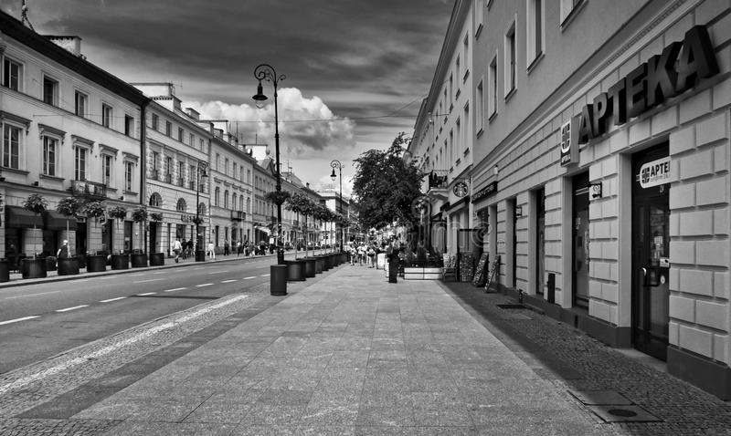Greyscale Photo Of Road With Buildings royalty free stock images