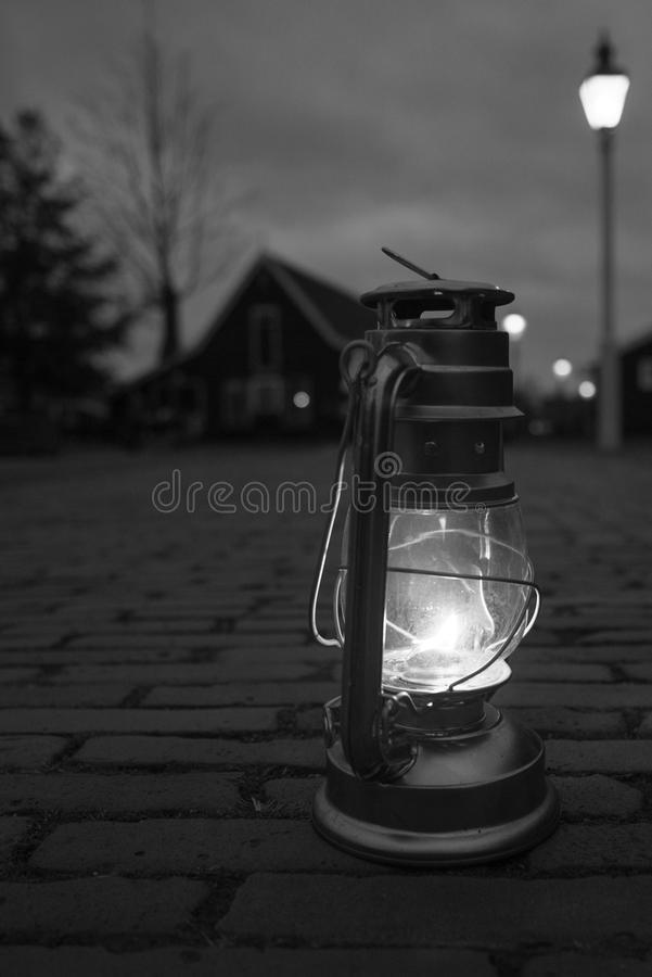 Greyscale Photography Of Lamp On Floor royalty free stock images