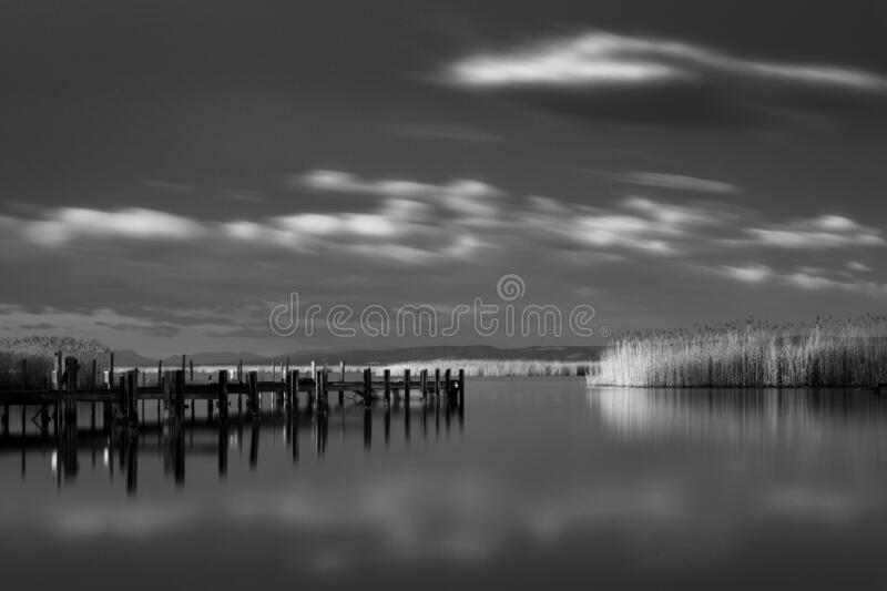 Greyscale shot of a wooden pier surrounded by grass near the lake under the storm clouds. A greyscale shot of a wooden pier surrounded by grass near the lake stock photography