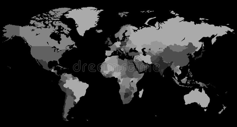 Greyscale world map on black background stock vector illustration download greyscale world map on black background stock vector illustration of continents globe gumiabroncs Image collections