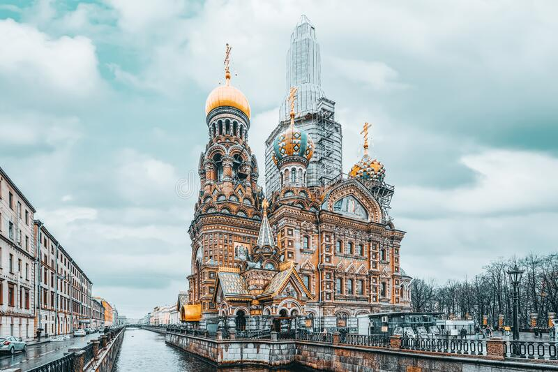 Gribobedov`s Canal. Cathedral of the Savior on Spilled Blood. Saint Petersburg. Russia. Saint Petersburg, Russia - November 03, 2019: Gribobedov`s Canal stock image