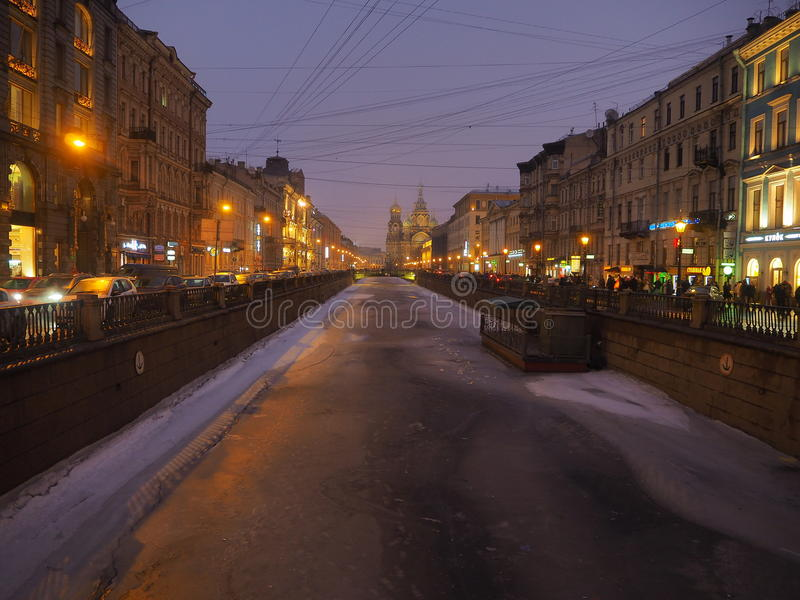 Griboedov channel in winter, St. Petersburg royalty free stock photos