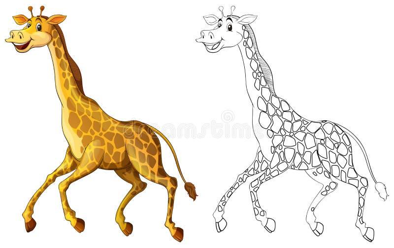 Gribouille l'animal de rédaction pour le fonctionnement de girafe illustration stock