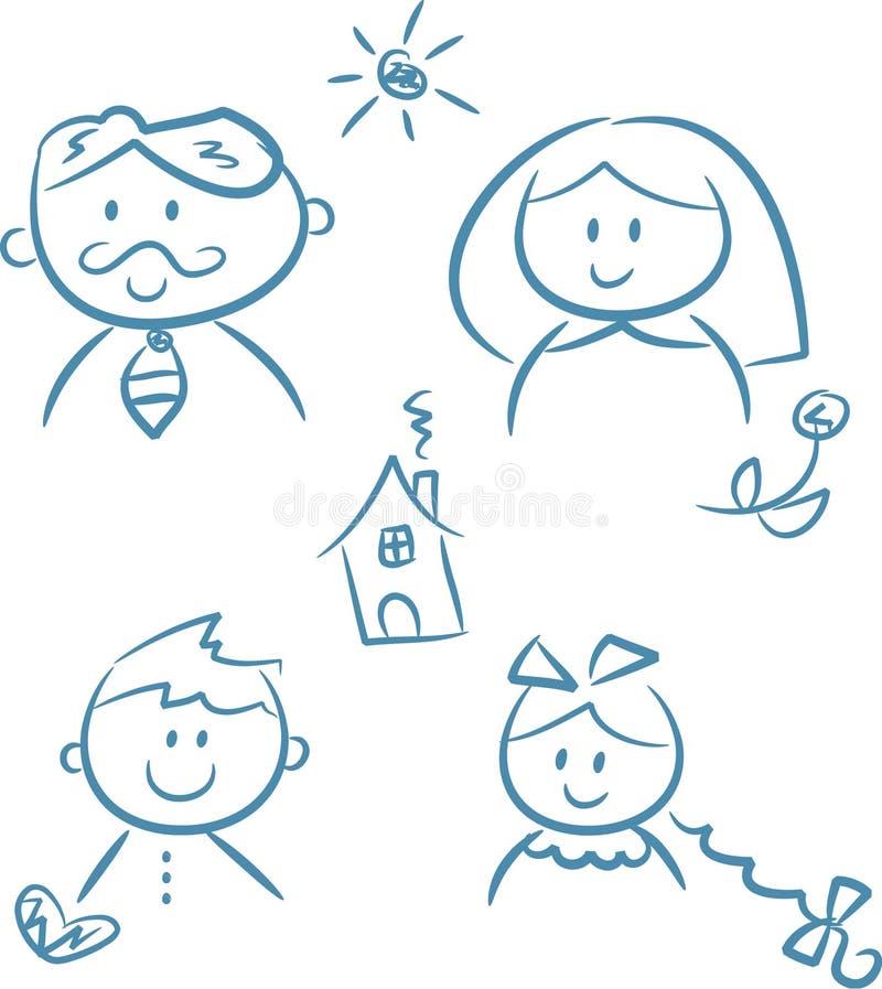gribouille la famille illustration de vecteur