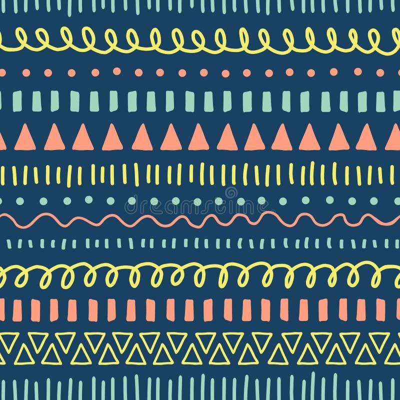 Gribouille le modèle sans couture de vecteur Rose de corail de fond ethnique et tribal de style, bleu, jaune, sarcelle d'hiver Gr illustration stock