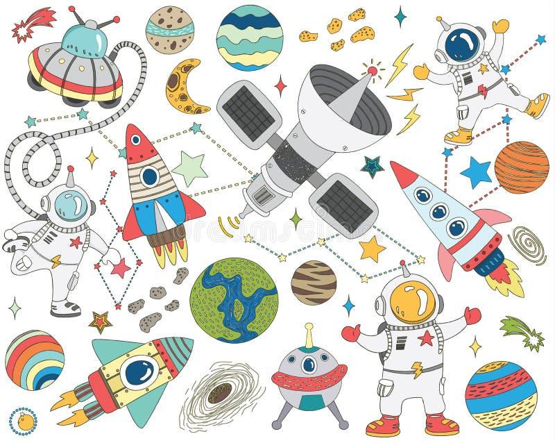 Gribouillez l'ensemble de collections d'espace extra-atmosphérique illustration de vecteur