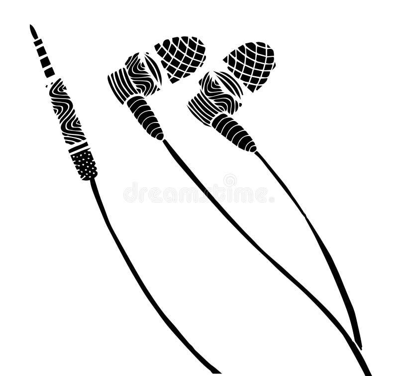 Gribouillez l'illustration de vecteur d'écouteurs de style avec les notes musicales, dessin de main illustration stock