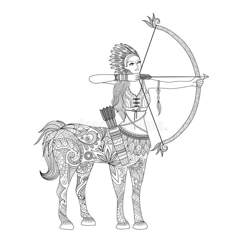 Gribouillez la conception de la fille de centaure pour livre de coloriage adulte et d'autres décorations - actions illustration stock