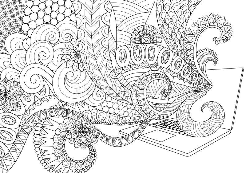 Gribouillez la conception de schéma amusement sortant de l'ordinateur portable pour les pages adultes de livre de coloriage pour  illustration de vecteur