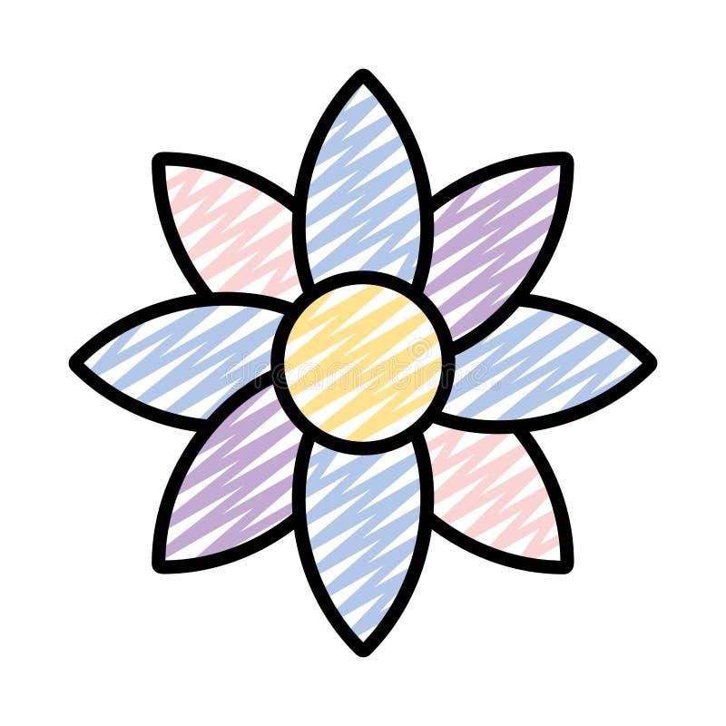 Gribouillez la fleur tropicale de beauté avec le style de pétales illustration stock