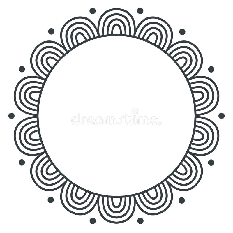 Gribouillez le cadre monochrome de vecteur de zentangle sur le fond blanc illustration de vecteur