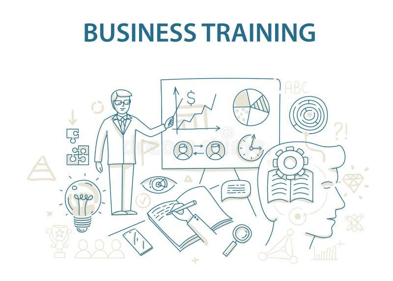 Gribouillez le concept de construction de style de la formation et de l'étude d'affaires illustration stock