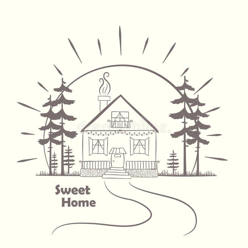 Gribouillez le croquis avec la maison à l'aube avec des arbres Tiré par la main illustration stock