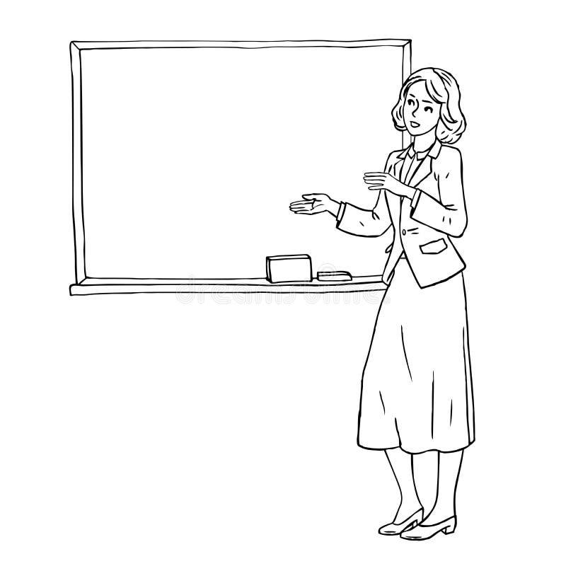 Gribouillez le croquis du professeur se tenant dans la salle de classe près du tableau noir sur le fond blanc illustration libre de droits