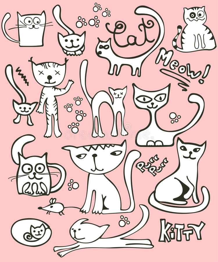 Gribouillez le positionnement de chat illustration de vecteur