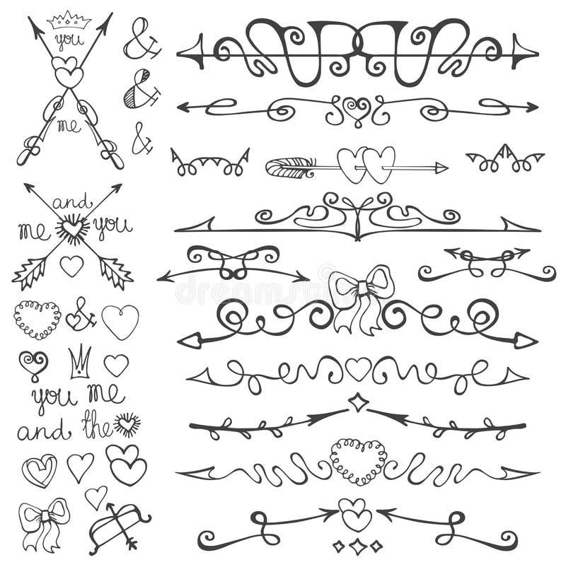 Gribouillez les flèches tirées par la main, coeurs, deviders, frontières illustration stock