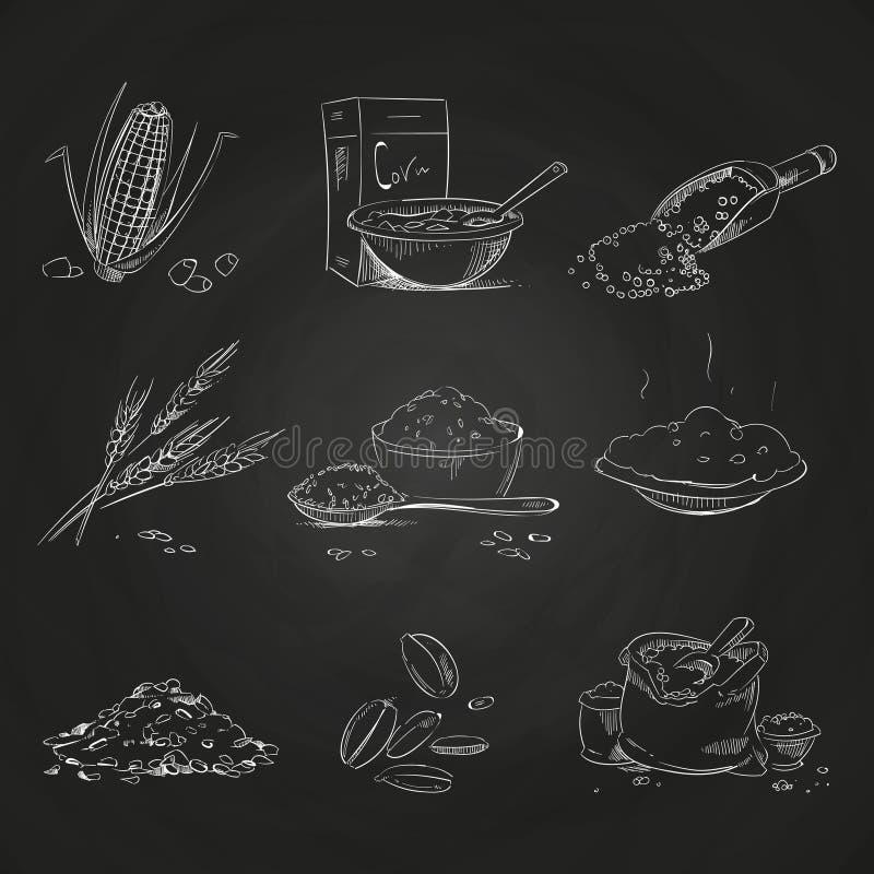 Gribouillez les gruaux de céréales et le gruau, le muesli et les cornflakes, l'avoine et le seigle, le blé et l'orge, le millet e illustration libre de droits