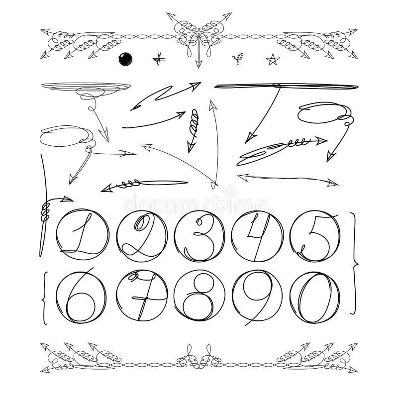 Gribouillez les nombres en cercle et d'autres éléments graphiques pour votre conception infographic Vecteur illustration stock