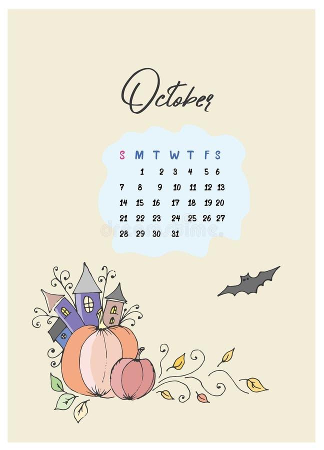 Gribouillez les potirons et le château avec une batte et un calendrier pour le mois d'octobre 2018 illustration de vecteur