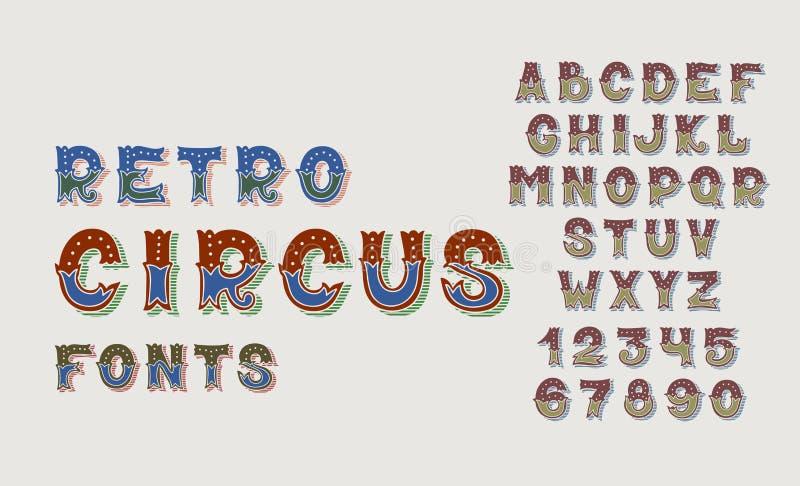 Gribouillez les rétros polices de cirque et numérotez l'ensemble de conception d'alphabet illustration libre de droits