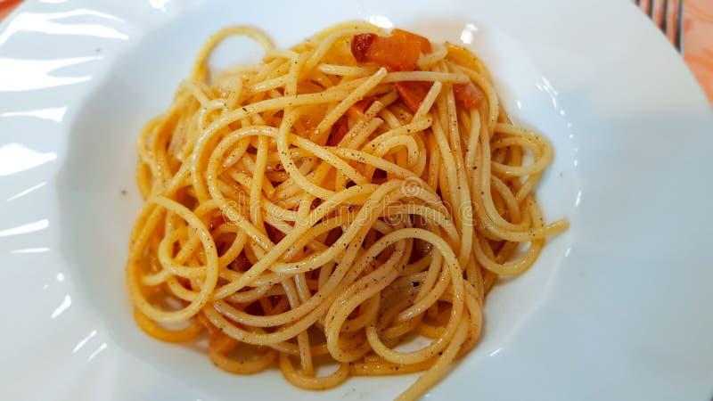 Gricia alla спагетти Amatrice, Лацио, Италия стоковые изображения