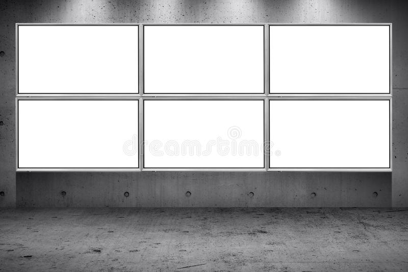 Billboard led panel on concrete wall building street roadside background. Grid array of advertising billboard led panel on concrete wall building street roadside royalty free stock photo