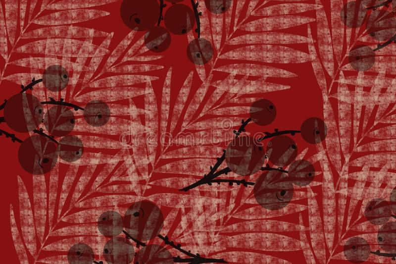 Grid berries and palm frond Japanese style cloth design background in indigo red overdye. Grunge antiqued background dyed look with Japanese style inked block stock illustration