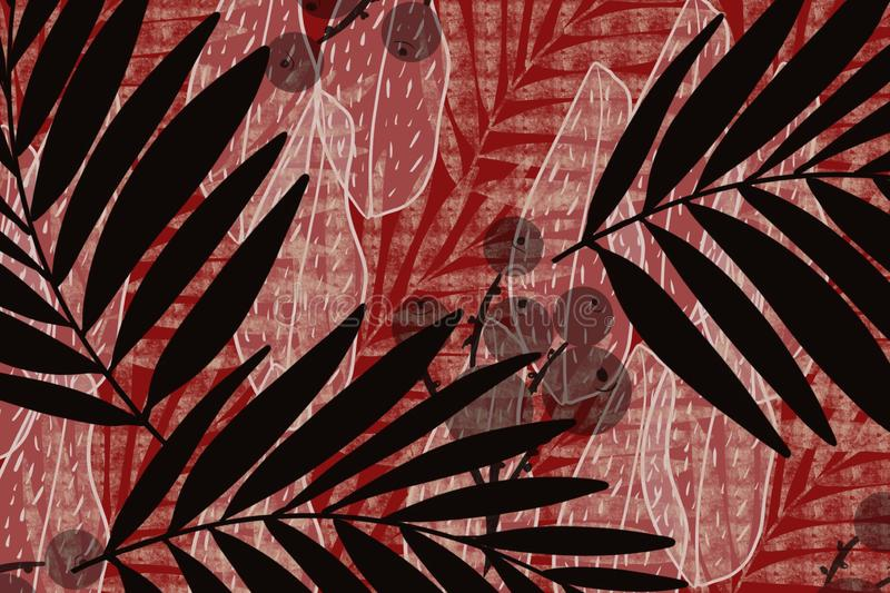 Grid berries and palm frond Japanese style cloth design background in indigo red overdye. Grunge antiqued background dyed look with Japanese style inked block royalty free illustration