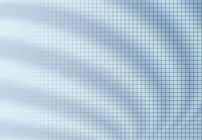 Grid blur background blue. Fine grid fading to left on blur background of curved ripple waves. Blue tone