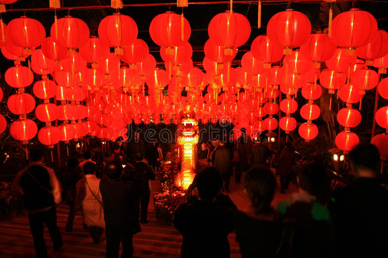 A grid of Chinese red glowing lanterns stock photo