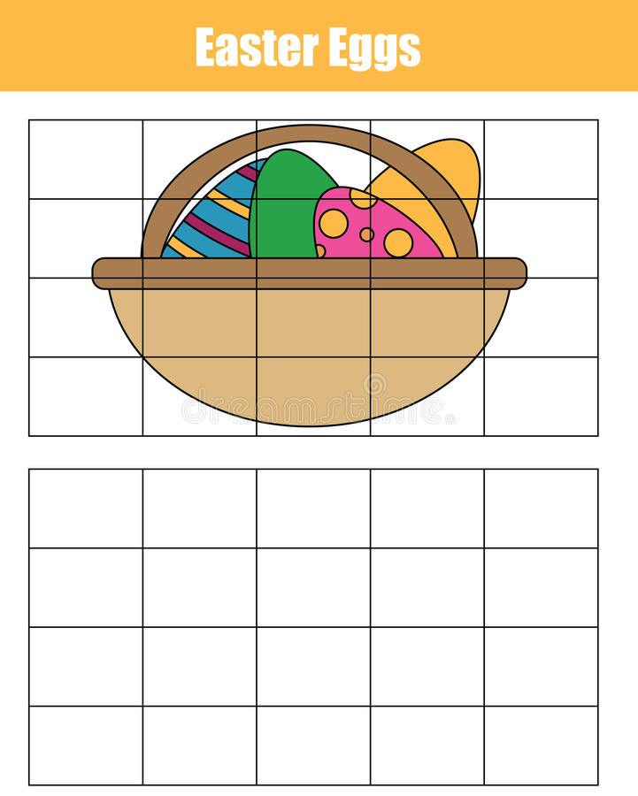Grid copy game. Draw the picture educational children game. Printable Kids activity sheet with easter eggs royalty free illustration