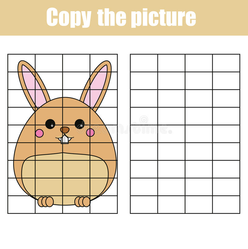 Grid copy worksheet. educational children game. Printable Kids activity sheet with cute rabbit, bunny. Copy the picture vector illustration