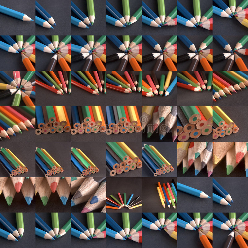 Grid Of Crayons Royalty Free Stock Photo