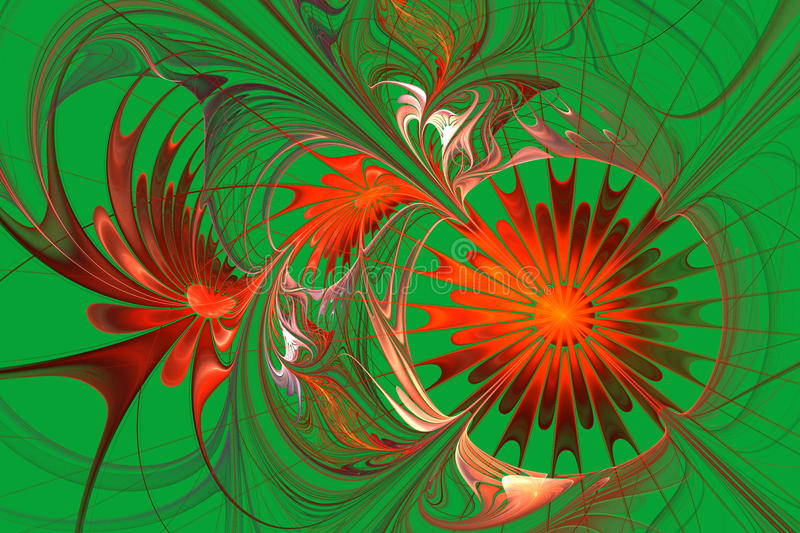 Grid fractal pattern in red and green. Computer generated graphics. Flower background. Orange and green palette. Fractal design. Computer generated graphics vector illustration