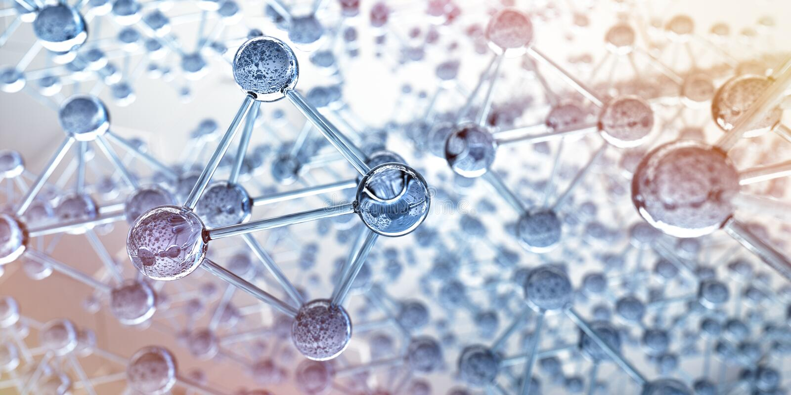 Grid of glass molecules - 3d structure visualization stock illustration
